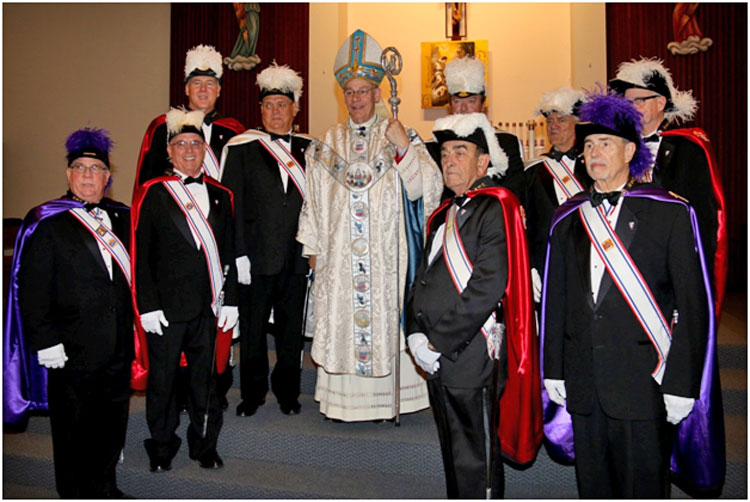 Bishop Finn with the Knights of Columbus