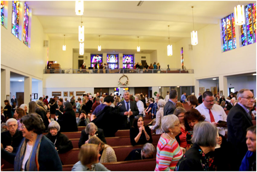 Congregation leaving Mass