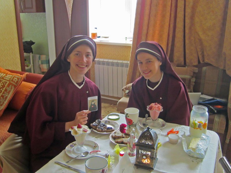5  Sister Faustina and Sister Catherine Marie enjoying some feast day treats.