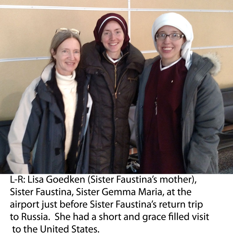 Sr. Faustina with her mother and Sr. Gemma at airport