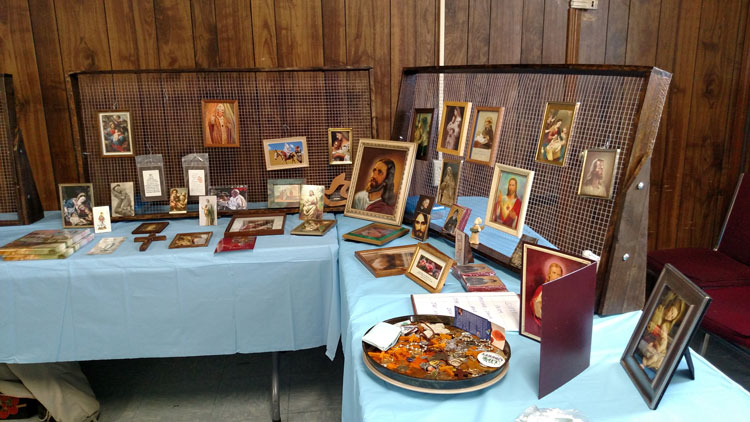 display of holy pictures and religious articles