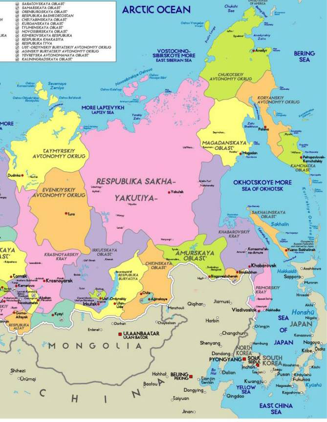map of Asian Russia