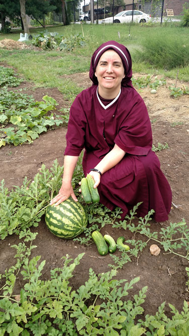 Sr. Maria Damiana with watermelons