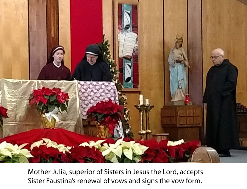 Mother Julia accepts Sr. Faustina's renewal