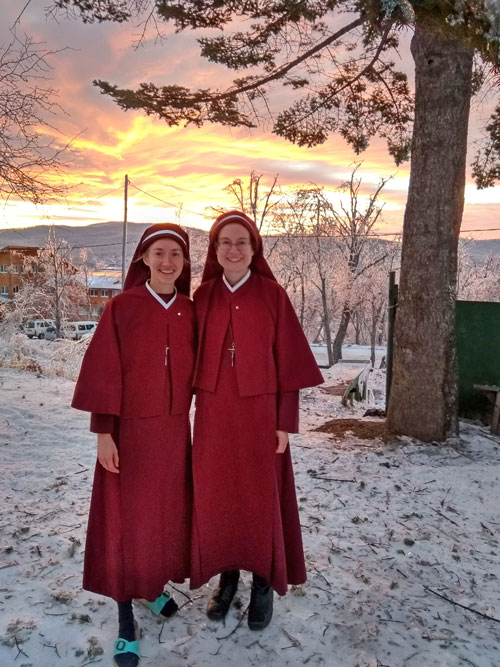 Sr. Faustina and Mother Stella in icy landscape