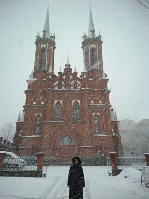 Sister Catherine in front of church